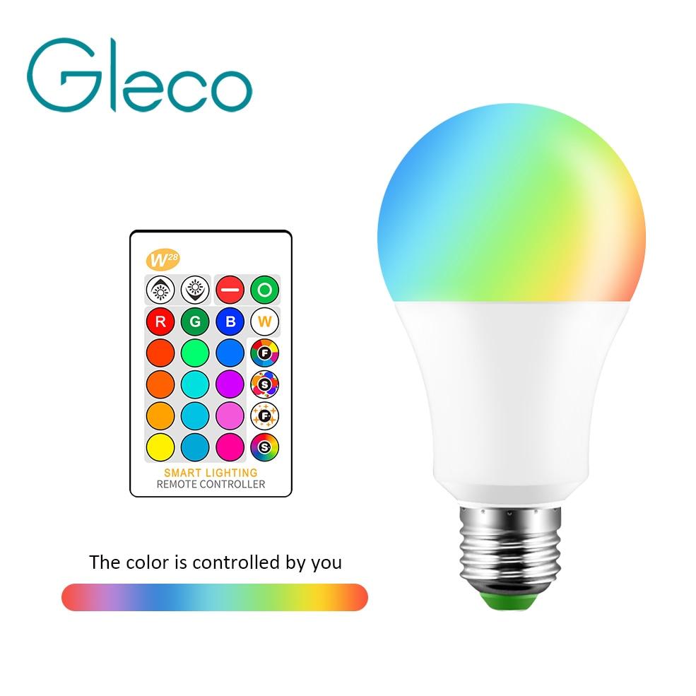 Светодиодные лампочки E27 RGB RGBW, 5 Вт, 10 Вт, 15 Вт, 110 В переменного тока, 220 В, 16 цветов, сменные с 24 клавишами, ИК-пульт дистанционного управления, с...