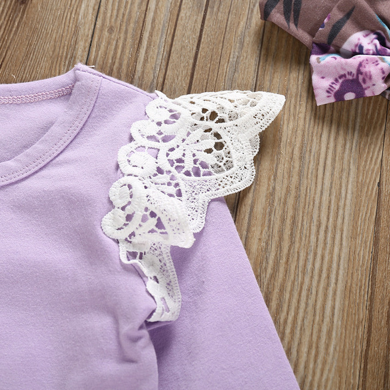 3pcs Kid Baby Girls Clothing Long Sleeve Cloth Set Purple Floral Jumpsuit Romper Pants Headband Outfits Girl Clothes Sets in Clothing Sets from Mother Kids