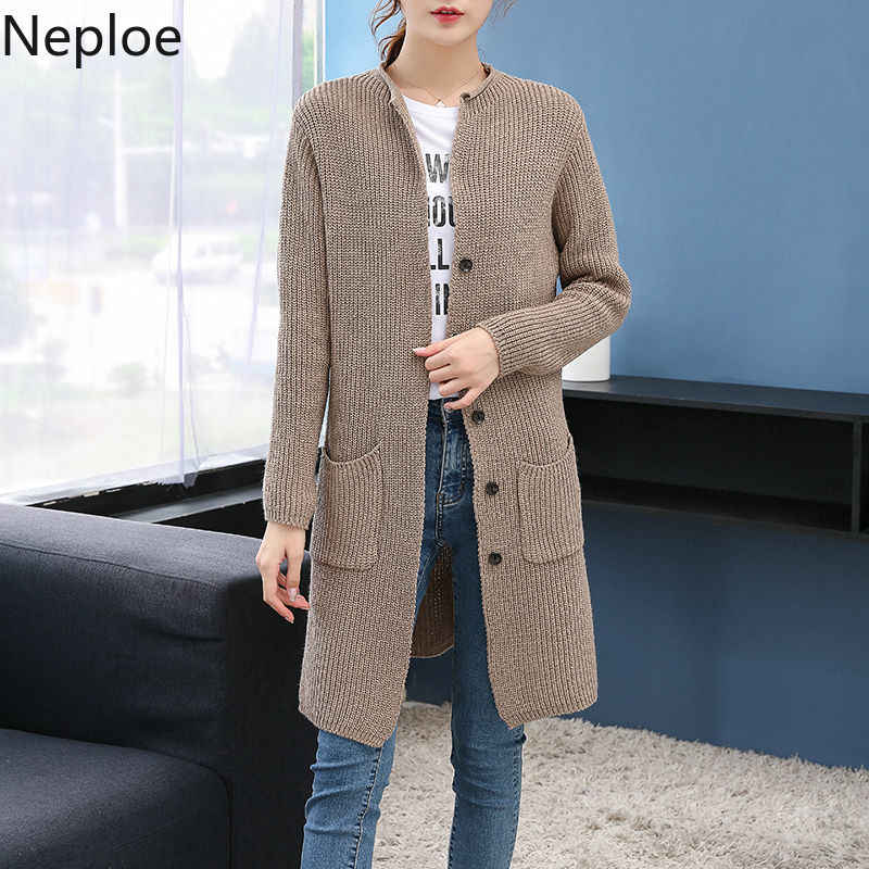 Neploe New Medium-long Cardigan Sweater Women 2020 Casual Solid Elegant Pocket Knitted Outwear Plus Size Knitting Tops 54893