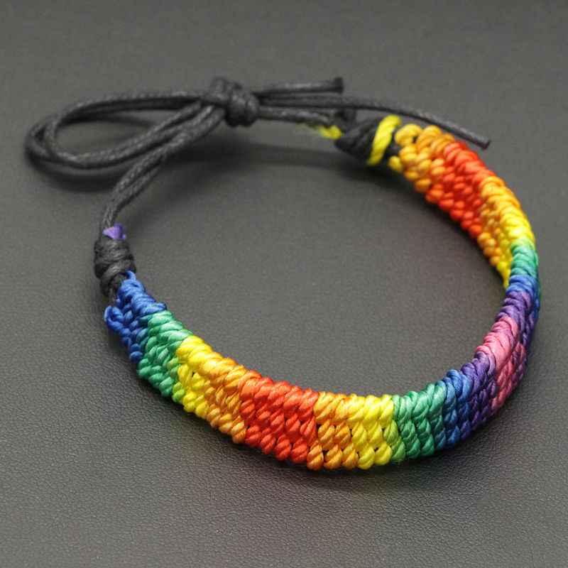 Buatan Tangan Terbuat dari Anyaman Rainbow Stripe Abu-abu Kebanggaan Adjustable Gelang Lesbian Lesbian Persahabatan Gelang Pesta Pelangi Gelang