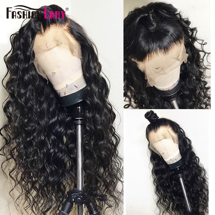 Fashion Lady Loose Deep Wave Lace Closure Wigs 4x4inch Human Hair Lace Wig 180 Density Human Hair Closure Wigs With Baby Hair