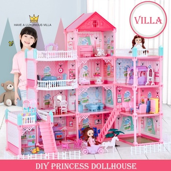Princess Big Villa DIY Dollhouses Pink Castle Play Room With Figures Kit Assembled Doll House Toys for Girls Children Gifts