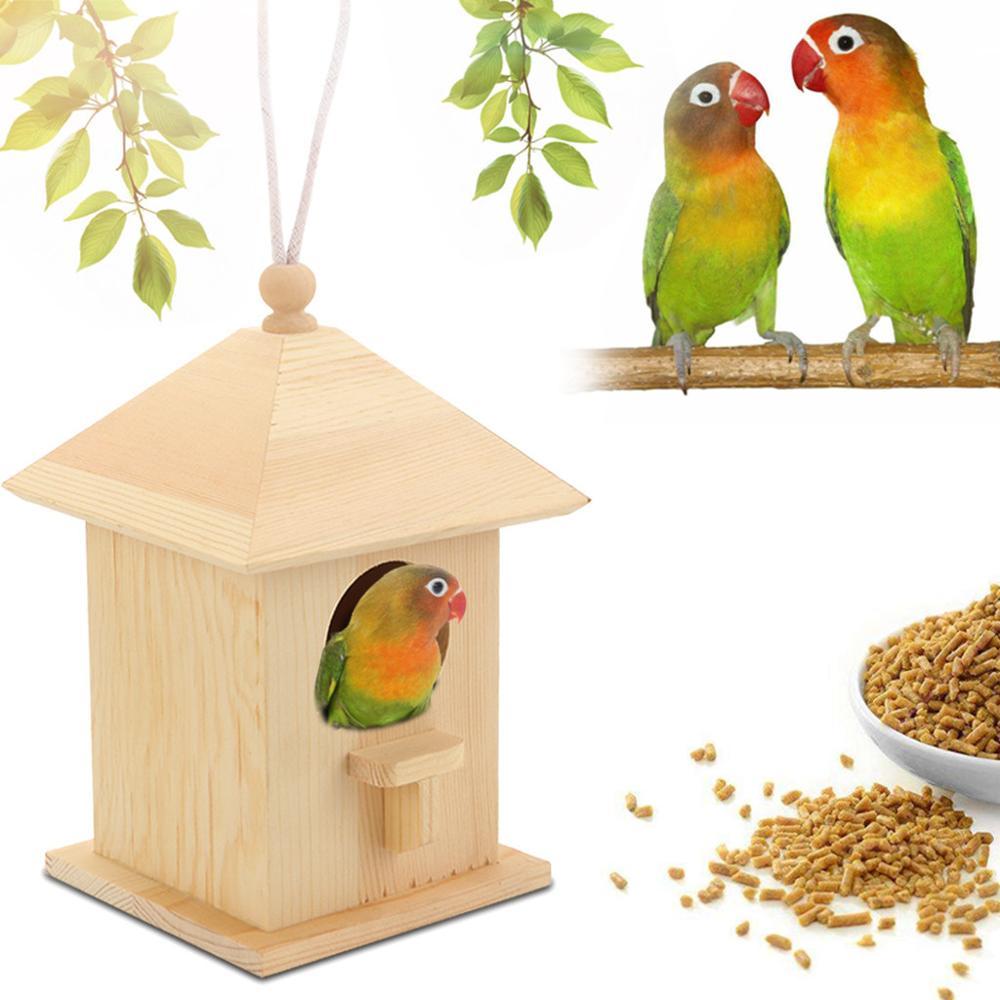 Wooden Bird House Nest Creative Wall-Mounted Wooden Outdoor Bird Nest Birdhouse Wooden Box Pet Supplies Accessories