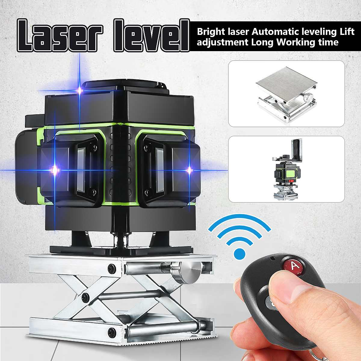 Laser Level 12 Lines Level 3D Self-Leveling 360 Degree Rotary Horizontal And Vertical Cross Blue Laser Level With Remote Control