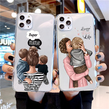 For iPhone 12 11 Por Max Mini XR X XS Case Silicone Black Girl Baby Women Mom Soft Cover For Apple iPhone 8 7 Plus Phone Case