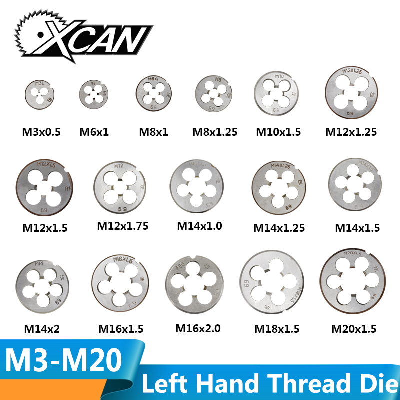 XCAN 1pc Metric Left Hand Machine Thread Die Metalworking Screw Thread Machine Die M3 M6 M8 M10 M12 M14 M16 M18 M20