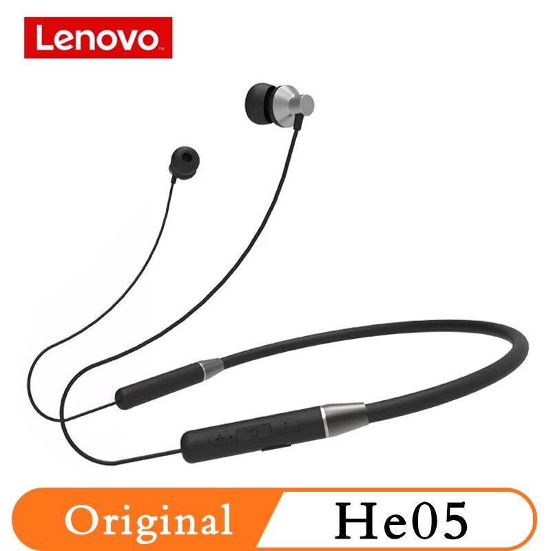 Original Lenovo HE05 Bluetooth Headphone 0.6m Wireless Earphone BT5.0 Sports Sweatproof Headset IPX5 With Mic Noise Cancelling
