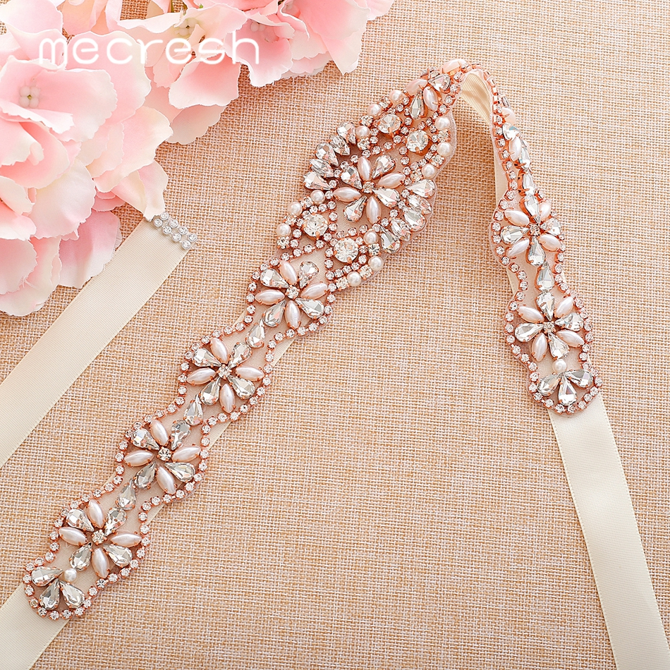 Mecresh Rose Gold Color Simulated Pearl Crystal Bridal Wedding Dress Belt Handmade Flower Shape Rhinestone Bride Belt MYD032