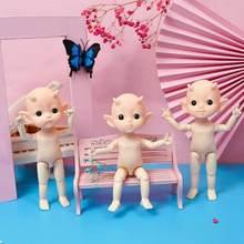 Muñeca de juguete de 16cm para niñas, juguete de cuerpo articulado, Mini, con cuernos bonitos BJD, desnuda, 13