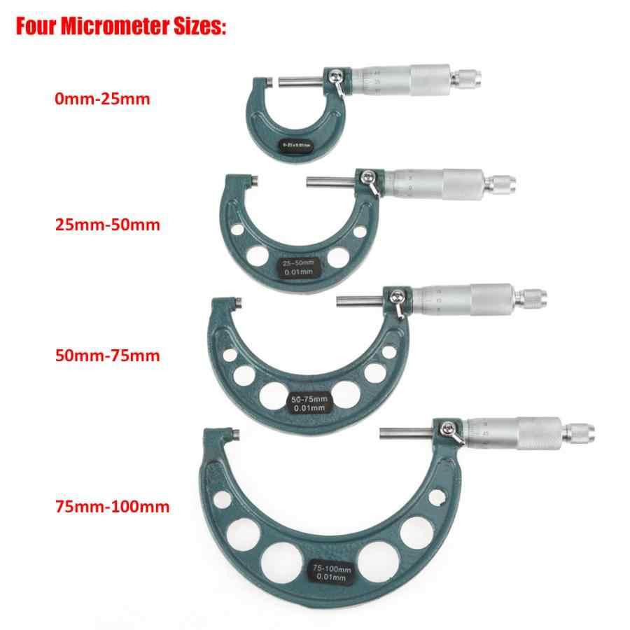 4 pièces 0-100mm micromètre extérieur micromètres jauge d'épaisseur étriers de mesure avec boîtier