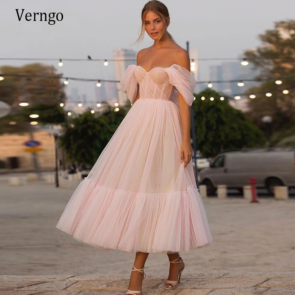 Verngo Blush Pink Off the Shoulder Dot Tulle  Short Wedding Dress With Sleeves Elegant Tea Length Bride Gown For Party Reception