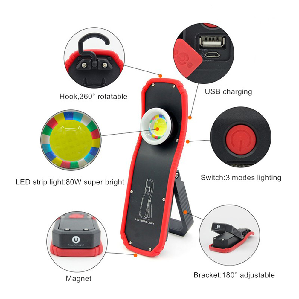 COB LED Work Light Magnet Flashlight Torch Lamp Rechargeable Light with Hook