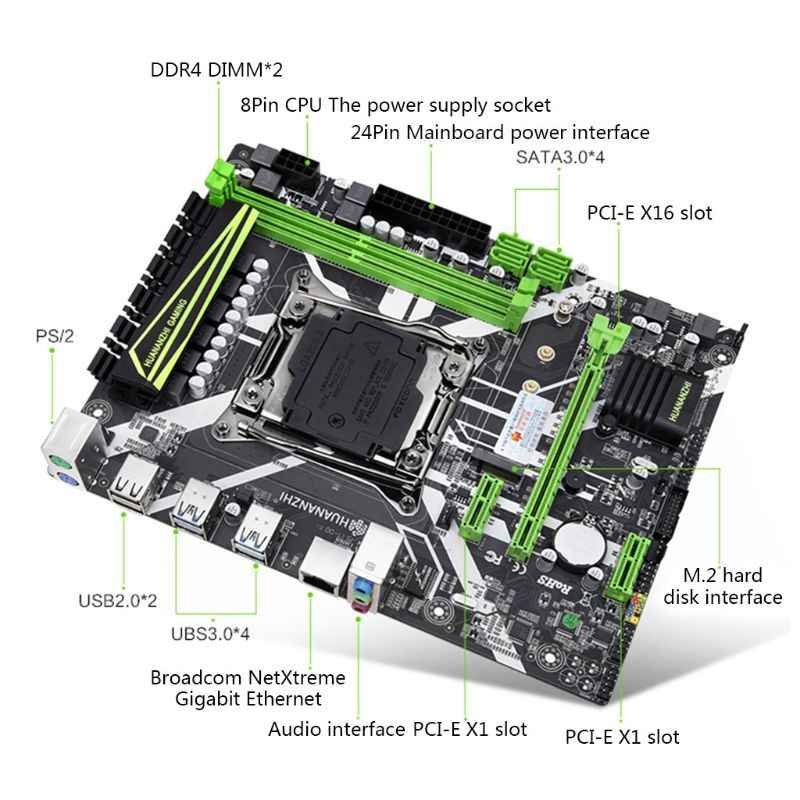 Huananzhi X99 اللوحة فتحة LGA2011-3 USB3.0 NVME M.2 SSD دعم DDR4 REG ECC الذاكرة و زيون E5 V3 V4 المعالج