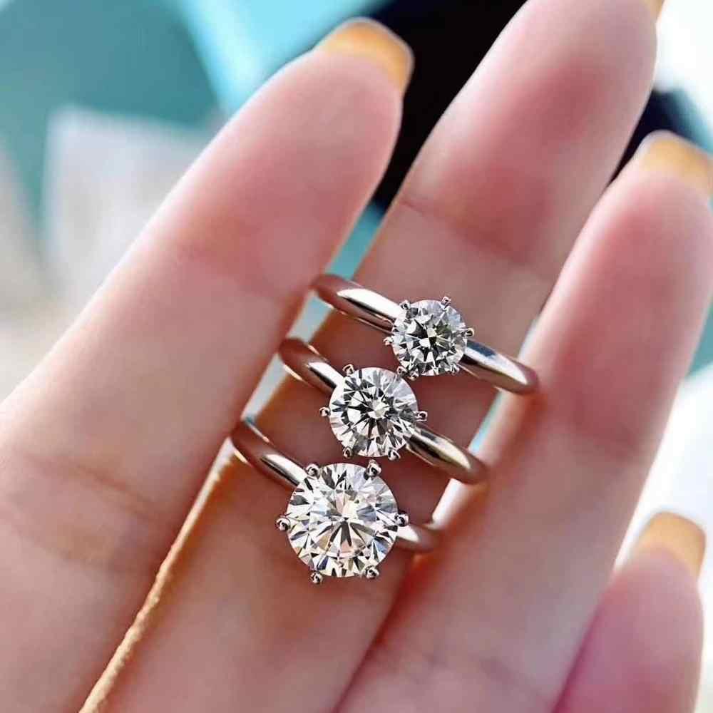 0,5 ct-3ct D Farbe Moissanite Verlobung Ringe für Frauen Einstellbare Echte Silber Ring 18K Weiß Gold Überzogene Fine Jewelry