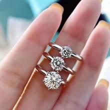 Женское кольцо с моисанитом, регулируемое кольцо из настоящего серебра с покрытием из белого золота 18 К, 0,5ct-3ct
