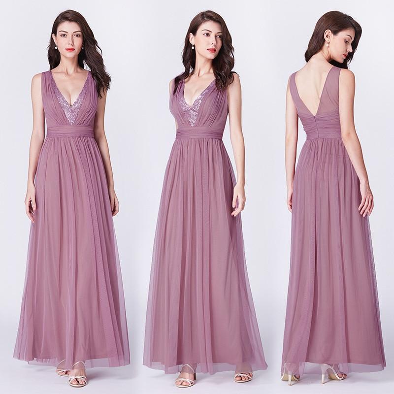 Sequined Evening Dresses A-Line Long Formal Party Dress R169 Shiny V-Neck Robe De Soiree Sleeveless Tank Elegant Women Vestidos