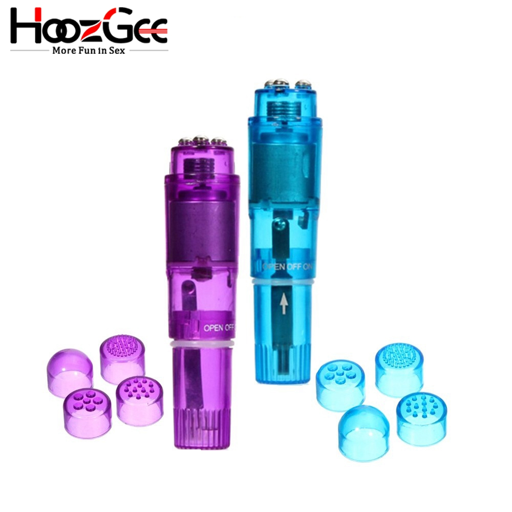HoozGee 4 Interchangeable Tips Waterproof Mini Full Body Massager Relieve Stress Pocket Vibrator Sex Toys (Multi-color) image