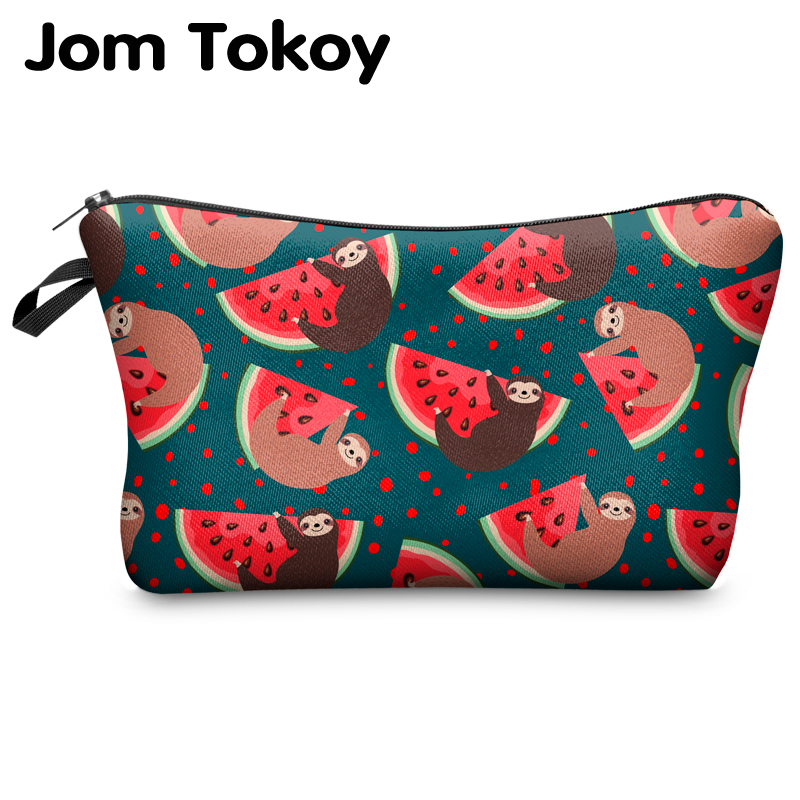 Jomtokoy Women Cosmetic Bag Sloth Pattern Digital Printing Toiletry Bag For Travel Organizer Makeup Bag Hzb1008