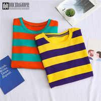 Duckwaver Sweet T-shirt Casual Loose Women Top Stranger Things T Shirt Korean Style Striped Clothes Women Vogue Tops Tee Shirt