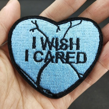 I Wish I Cared Broken Heart Couples Lovers Slogan Sticker Clothing Apparel Garment Embroidery Iron on Patch Diy Accessory image