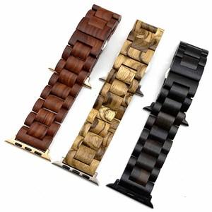 Image 5 - Браслет из натурального дерева для часов Apple Watch, ремешок 38/42 мм, роскошные аксессуары для часов IWatch, ремешок для часов с адаптерами