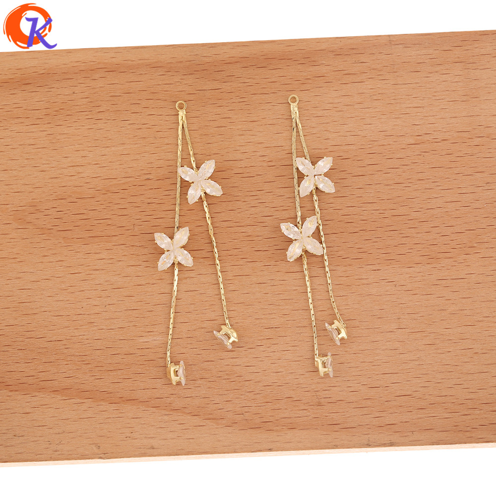 Cordial Design 40Pcs 9*69MM Jewelry Accessories/CZ Earrings Connectors/Rhinestone Claw Chain/Flower Shape/Hand Made/DIY Making