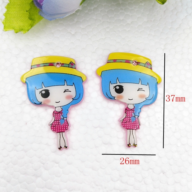 10pcs/lot Point drill acrylic planar resin cabochons accessories for kids hot sale Lovely princess