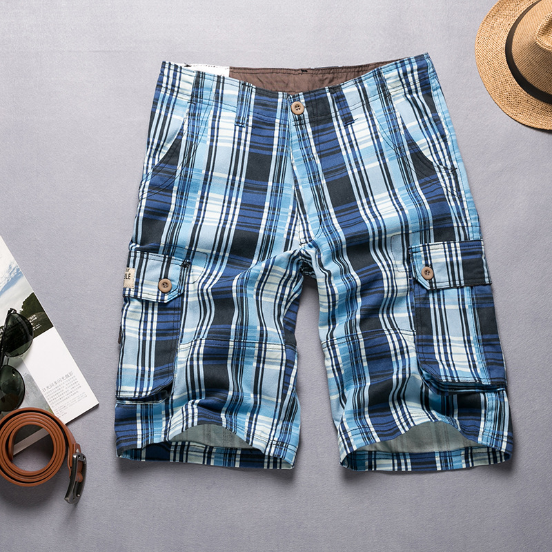 Shorts Men's Duo Kou Dai Ku Plaid Short Shorts Men's Casual Loose-Fit MEN'S Trousers Workwear Shorts Men's