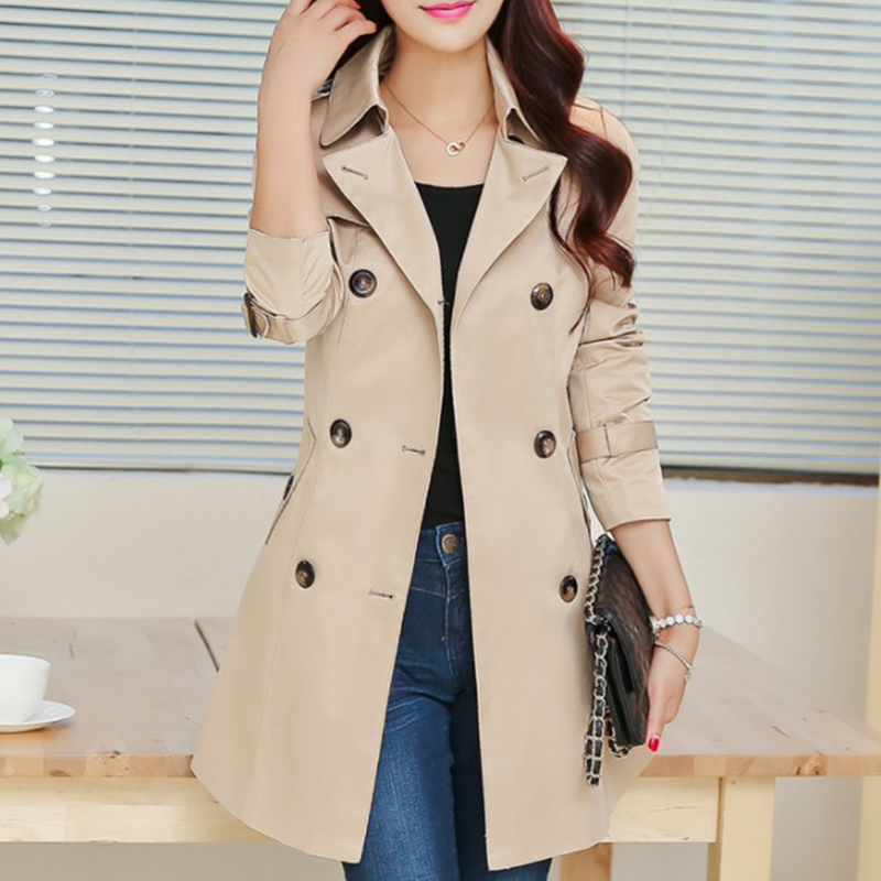Autumn Solid Double Breasted Belt Women's   Trench   Coats Long Sleeve Coat Lace Up   Trenches   Female 2019 Winter High Street Outwear