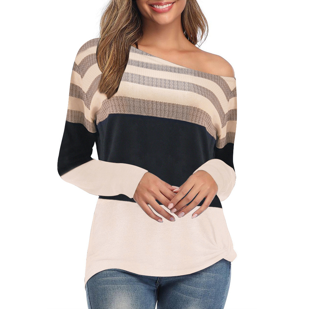 Women Clothes 2019 Striped Tshirt Long Sleeve Tops Womens Clothing T-Shirts Cotton Casual Tee Shirt