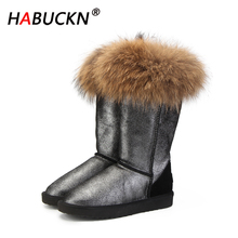 HABUCKN new Fashion Natural Real Fox Fur Women's Winter Snow Boots Warm Long Boots Genuine Leather High Winter Boots Women Shoes 100% natural fur women boots winter warm shoes genuine sheepskin snow boots warm wool women ankle boots