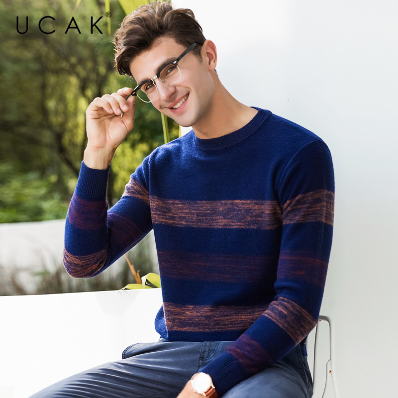 UCAK Brand Sweater Men Pure Merino Wool Pullover Men O-Neck Pull Homme 2019 New Autumn Winter Thick Warm Cashmere Sweaters U3064