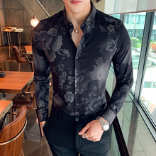 Mens long-sleeved shirt 2019 autumn and winter new casual flower Slim youth trend mens clothing