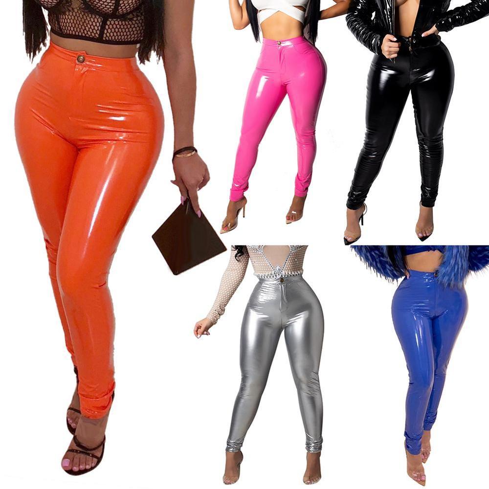Женские латексные штаны из искусственной кожи, брюки с эффектом пуш-ап и высокой талией, облегающие брюки-карандаш, однотонные сексуальные ...