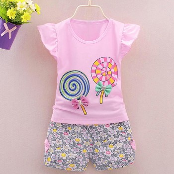 2PCS Toddler Kids Baby Girls Outfits Summer Lolly T-shirt Tops+Short Pants Clothes Set Girls Cotton Outfits Kids Clothing 2pcs fashion toddler baby girls summer short sleeve tops t shirt denim hole roses floral dress skirt summer outfits clothes set