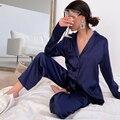 Пижама HECHAN женская с отложным воротником, повседневный комплект из 2 предметов, штаны с карманами и длинным рукавом, ночная рубашка, домашни...