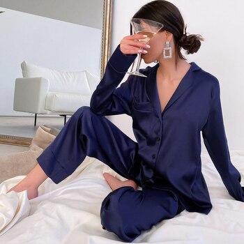 HECHAN-pijama azul con cuello vuelto para mujer, ropa de dormir de manga larga con bolsillos, conjunto de 2 piezas, traje para casa