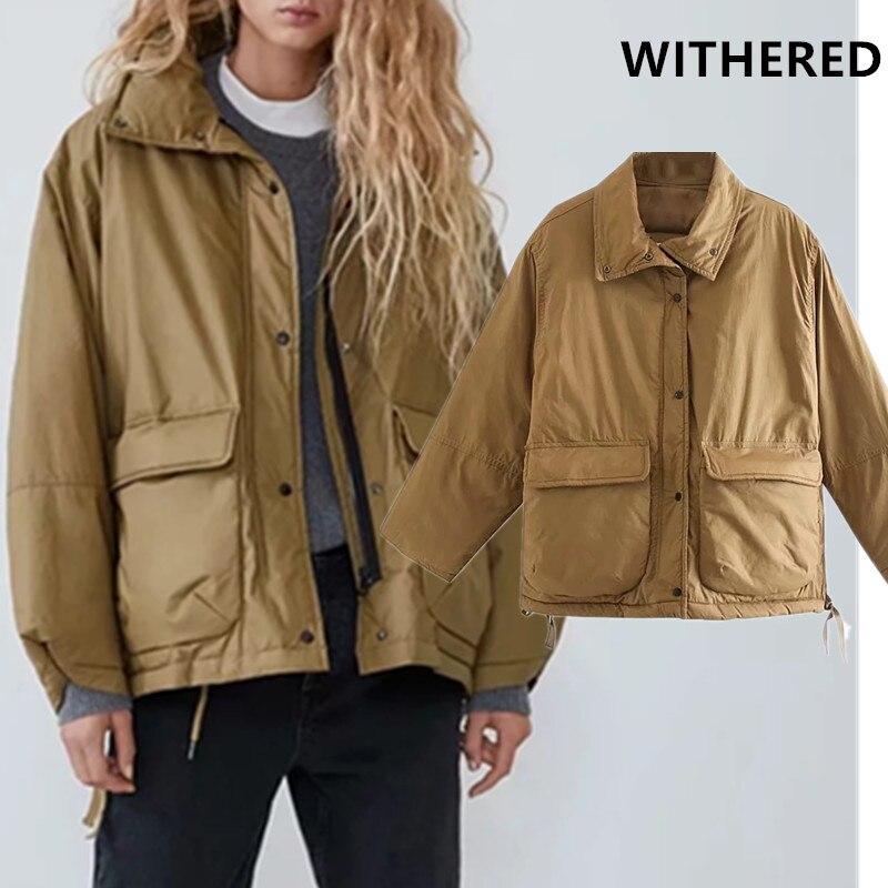 Manteau de parka d'hiver flétri femmes angleterre vintage épais grandes poches surdimensionné cordon lâche bomber veste femmes manteau chaud hauts