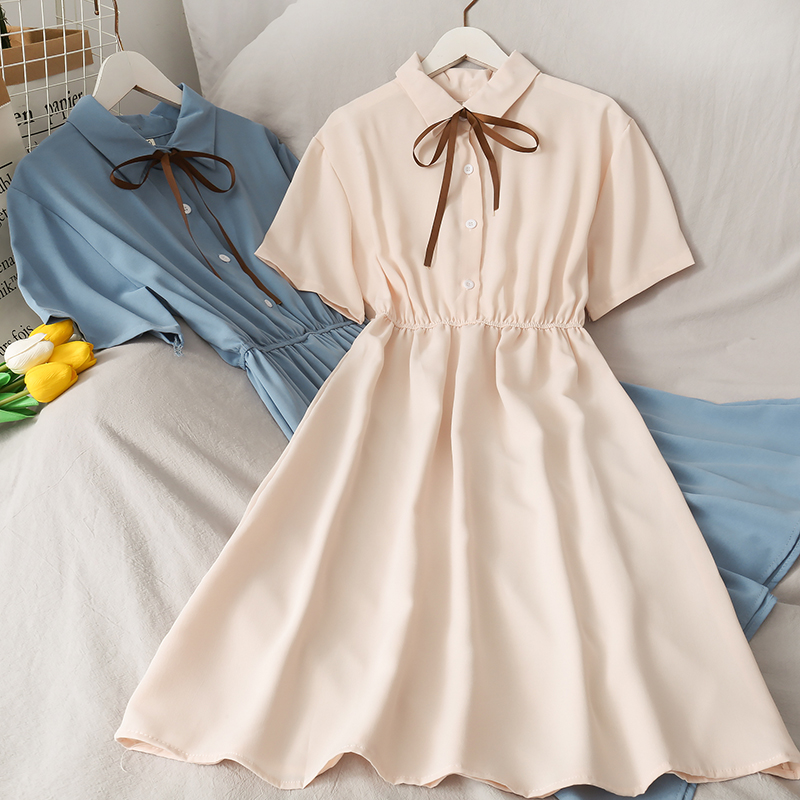 Dress Women Chiffon Bow Solid High Waist Turn down Collar Preppy Style Kawaii Ulzzang Popular Temperament Girls Summer Holiday