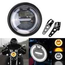 Headlight 6.5 inch Motorcycle Accessories Refit for Cafe Racer Bobber Iron Motorbike Distance Light Motorcycle LED Headlamp