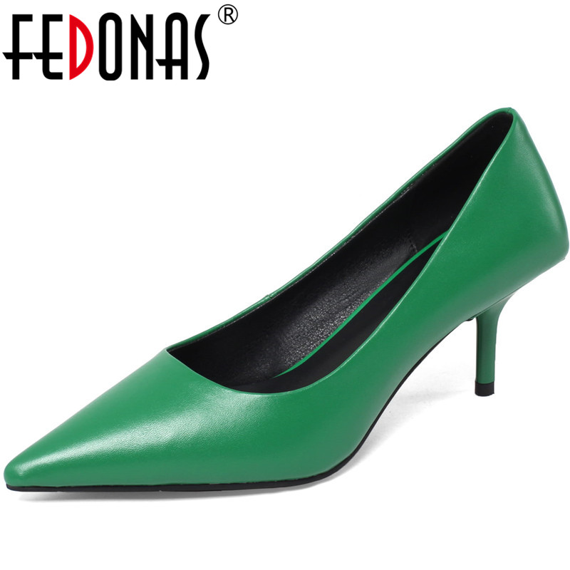 FEDONAS 2020 Genuine Leather Women Shoes Shallow High Heels Pumps Wedding Party Concise Summer Newest Pointed Toe Shoes Woman