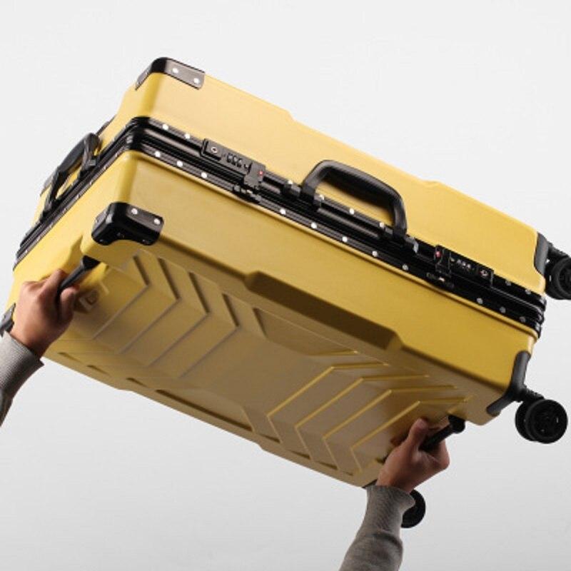 Robot 100% cadre en aluminium 20/24/26/28 pouces taille haute qualité roulement bagages Spinner marque valise de voyage-in Bagages à roulettes from Baggages et sacs    1