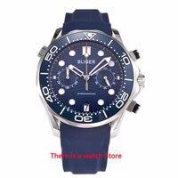 Bliger 41mm Quartz Watch Men Sapphire Glass Luminous Waterproof Rubber Strap Calendar Sport Chronograph Function Wristwatch Men