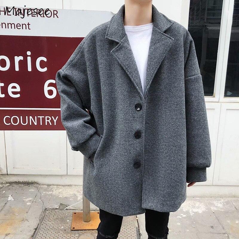 Wool Coat Men Korean Fashion Trendy Loose Leisure Novelty Single Breasted Mens Overcoats Harajuku Winter Clothes Blends Soft