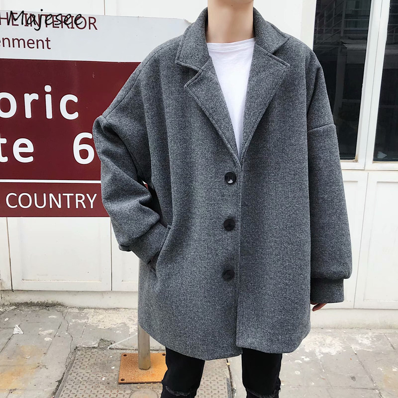 Wool Coat Men Korean Fashion Trendy Loose Leisure Novelty Single Breasted Mens Overcoats Harajuku Winter Clothes Blends Soft