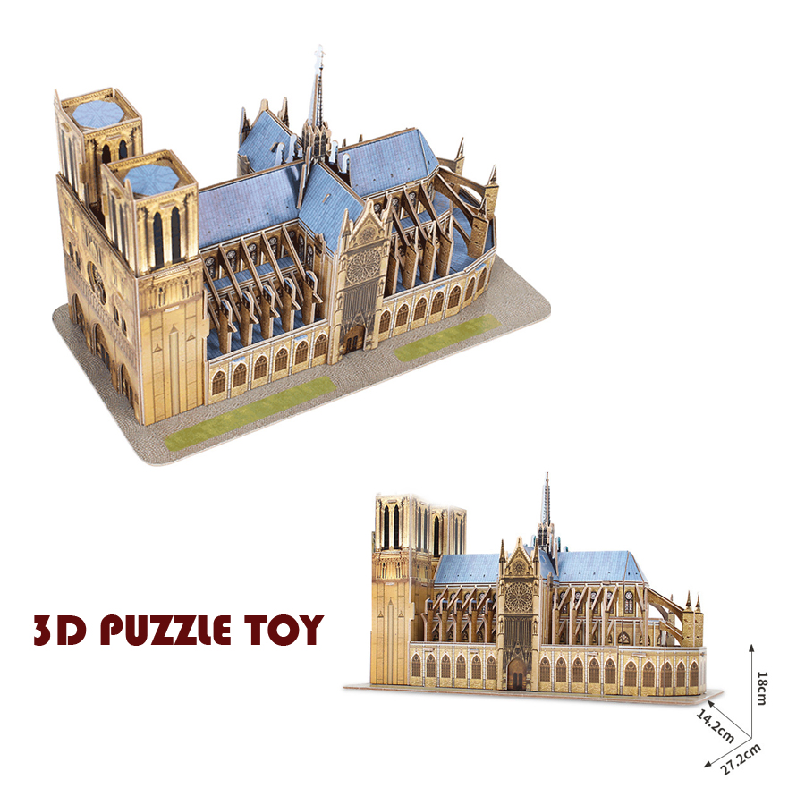 3D France Notre Dame De Paris Puzzle Toy Three-dimensional Jigsaw 3D Paper Building Model Toys For Birthday Xmas Gifts