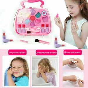 Safe Princess Girls Makeup Kids Cosmetics Make up Set Washable Beauty Makeup Box Baby Gift Toys for Girls Birthday Pretend Play