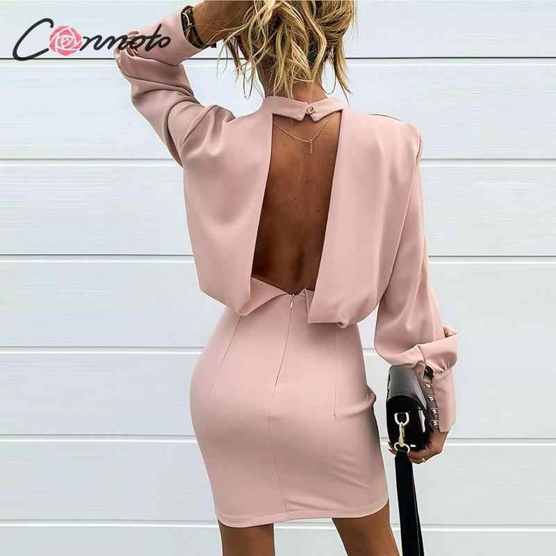 Conmoto rose solide sexy robe de club femmes dos nu solide tortue robes moulantes à manches longues parti dames robe vestidos