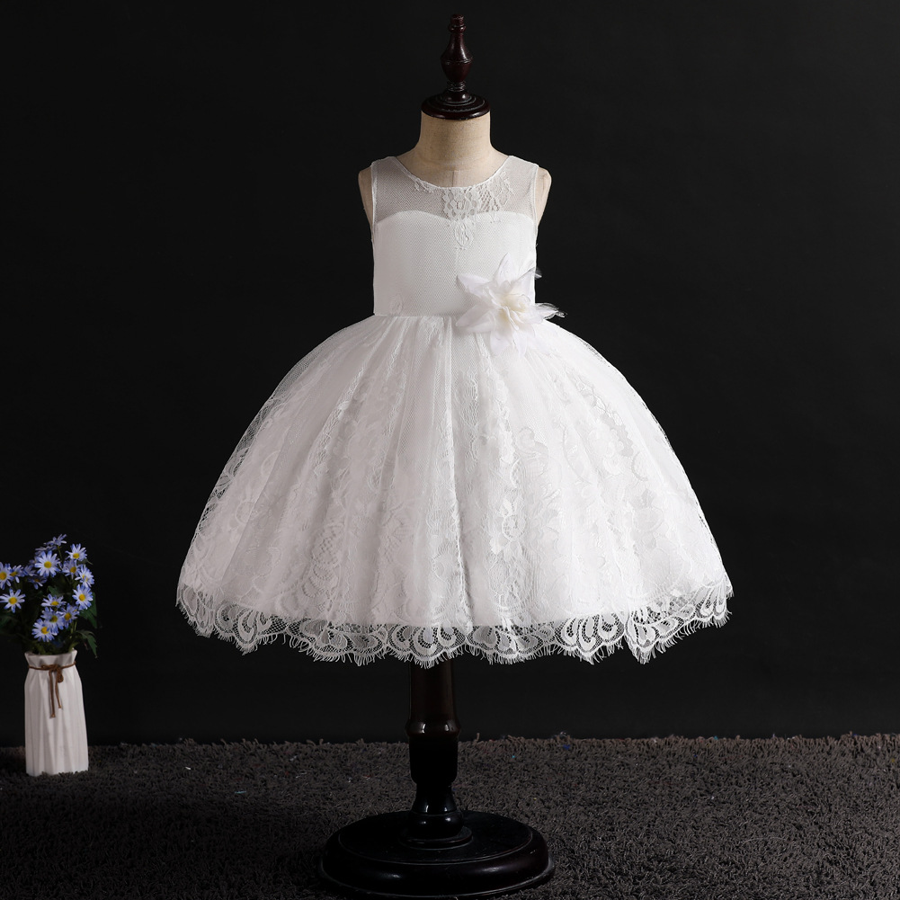 2019 Summer New Style Girls White Dress Children Flower Dress Lace Princess Dress