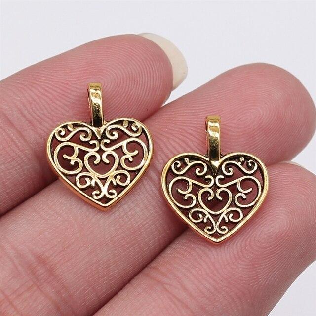 WYSIWYG 30 pièces 15x18mm 2 couleurs Vintage métal en alliage de Zinc filigrane creux amour coeur breloques idéal pour bijoux pendentif breloques Makings